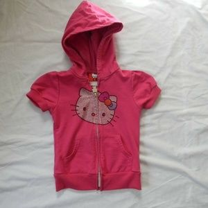 Hello Kitty Pink Hooded Short Sleeve Zippered Top
